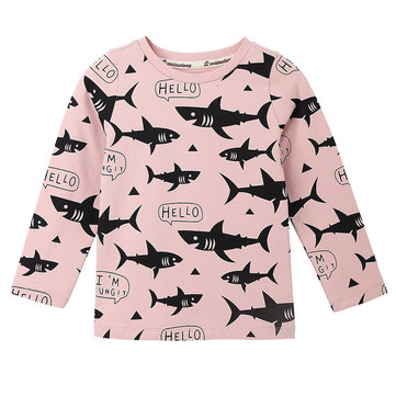 Sharks Print Long Sleeve T-Shirt For 2-11Y