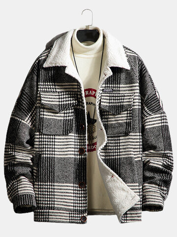 Plaid Borg Collar Sherpa Lined Jackets