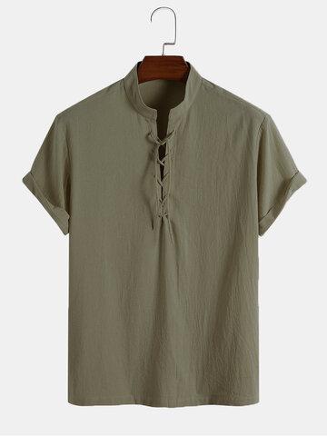 Cotton Bandage Front Henley Shirts