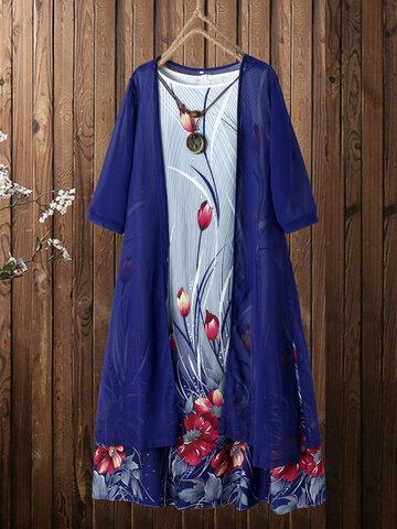 Flower Print Two-piece Dress