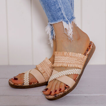 Cross Strap Tassel Beach Sandals
