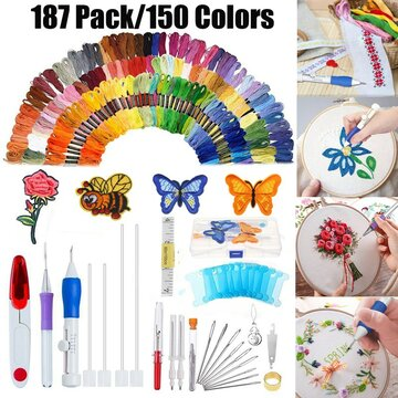 187 pcs/set Embroidery Kit Punch Needle Embroidery Patterns Punch Needle Kit Craft Tool Embroidery Pen Set Threads for Sewing Knitting DIY Threaders