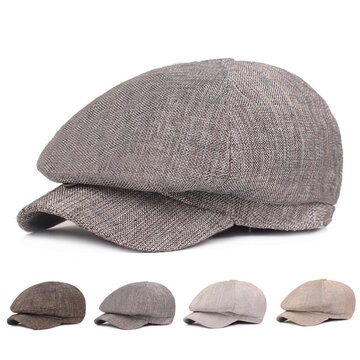 Hemp Cotton Beret Cap Solid Color Fashion Hat
