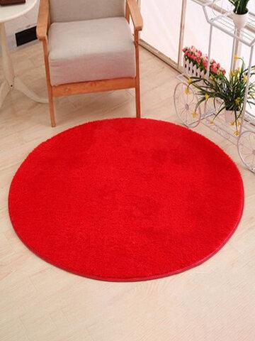 Red Round Shaggy Rug Long Hair Faux Fur Mat