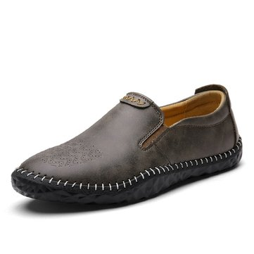 Men Hand Stitching Soft Hole Breathable Portable Slip On Loafers, Brown khaki dark blue