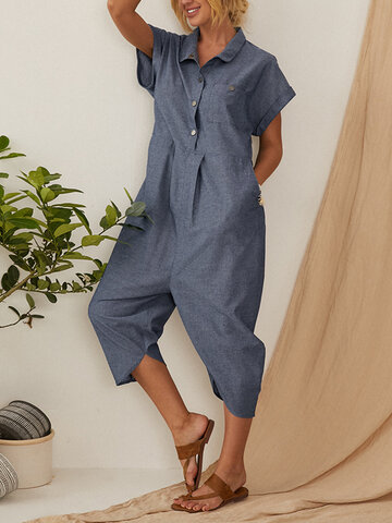 Solid Color Button Down Turn-down-collar Jumpsuit For Women
