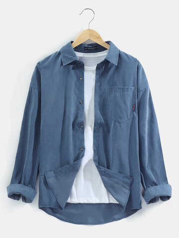 Solid Color Brief Style Lapel Shirt