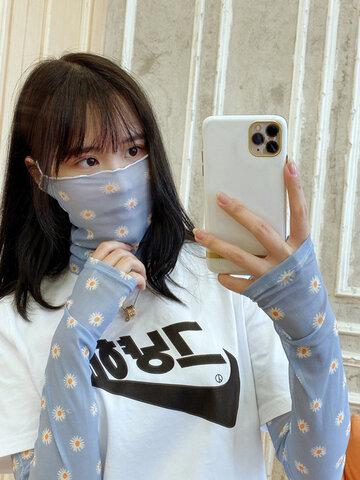 Daisy Pattern S sunscreen Female Hand Sleeve Arm Guard Sleeve Printed Net Sand Gloves