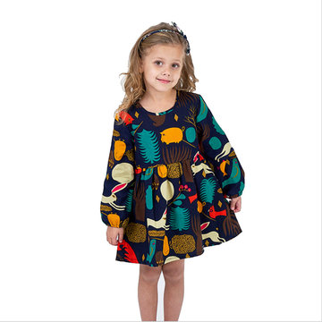 Girls Cartoon Long Sleeve Print Dress For 2-9Y