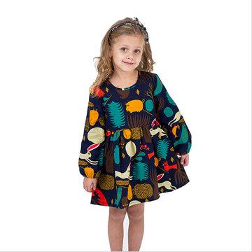 Vestito a manica lunga con stampa a maniche lunghe da bambina per 2-9 anni