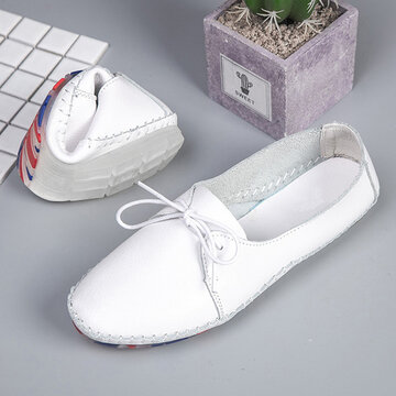 Leather Oxford White Flats