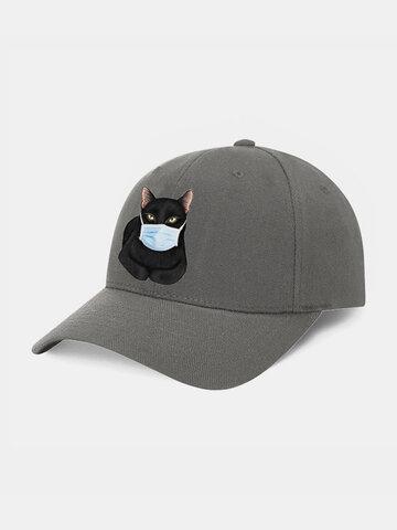 Cartoon Cat Mask Isolated Hat Cotton Quarantined Bucket Hat