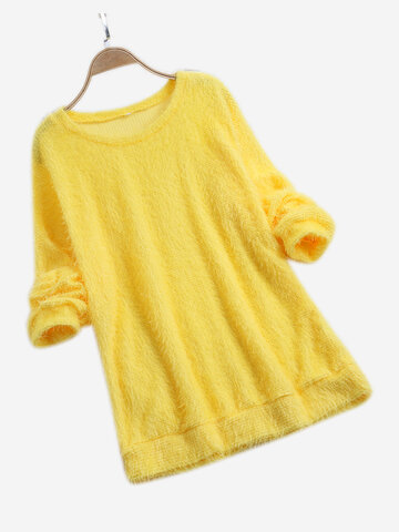 Loose Solid Color Casual Sweater, White pink yellow purple blue