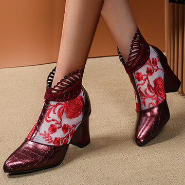 Flowers Embroidered Lace Summer Boots