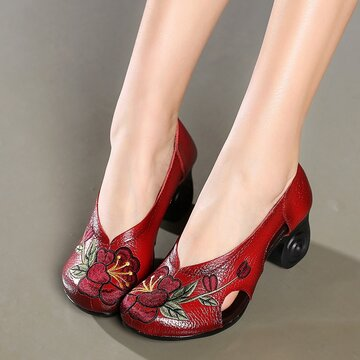 Flowers Embroidery Leather Hollow Pumps
