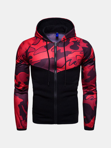 Men's Sports Camouflage Patchwork Zipper Up Hoodies, Black / white red