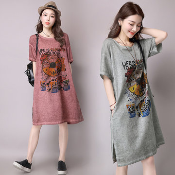 New Loose Printed Long Skirt Female Large Size Short-sleeved Cotton And Linen Dress