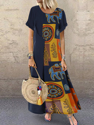 Vintage Ethnic Print Patchwork Dress