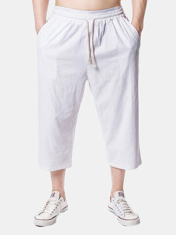 Beach Casual Baggy Linen Calf-Length Pants