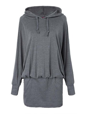 Casual Women Plus Size Hooded Batwing Pullover Mini Dress