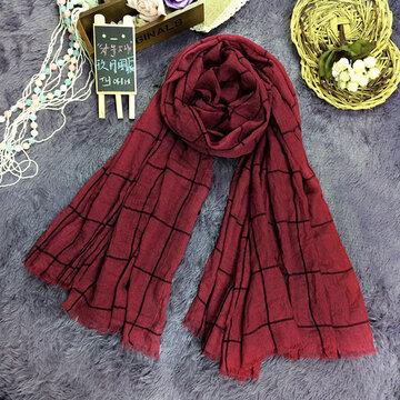 Women Plaid Cotton Fringed Scarves Linen Soft Long Shawl