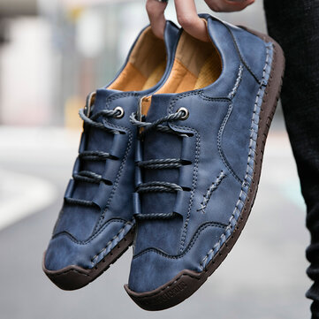 Men Hand Stitching Microfiber Leather Shoes