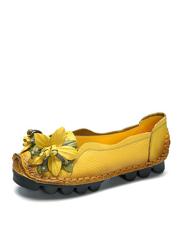 Leather Handmade Flower Loafers