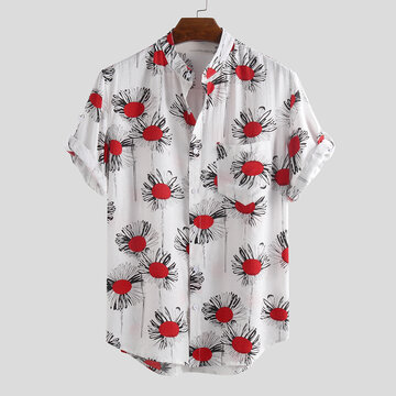 Mens Summer Floral Printed Casual Shirts