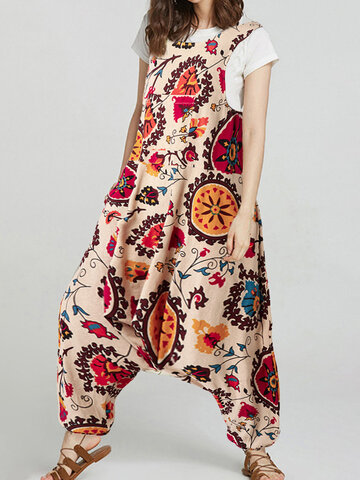 Vintage Printed Sleeveless Straps Jumpsuit With Pocket