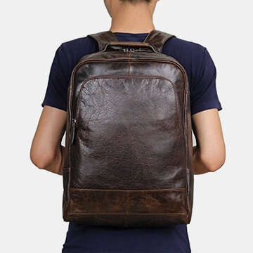 Кожа PU Винтаж Business Solid Color 13,3 дюймов Ноутбук Сумка Рюкзак большой емкости