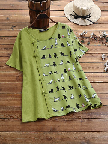 Cartoon Gato Print Frog Button Camiseta de manga corta para Mujer
