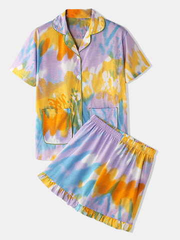 Softies Tie Dye Flounce Loungewear Set