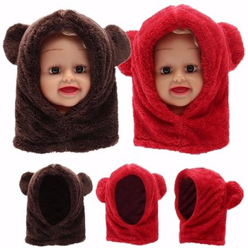 Baby Kids Cute Warm Winter Fluffy Bear Hat