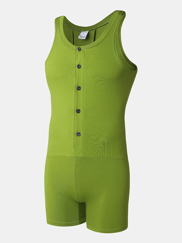 Solid Color Sleeveless Sport Jumpsuit