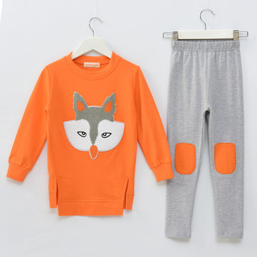 Fox Pattern Girls Clothing Set For 3Y-15Y