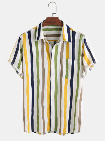 Linen Lightweight Breathable Color Striped Shirt