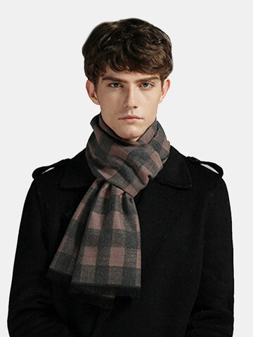 Men Stripe Plaid Pattern Keep Warm Contrast Color Scarf