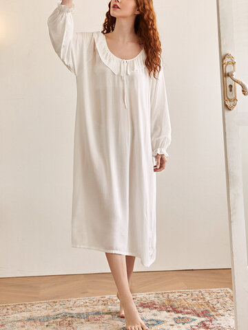 Cotton Tie Neck Plain Nightdress