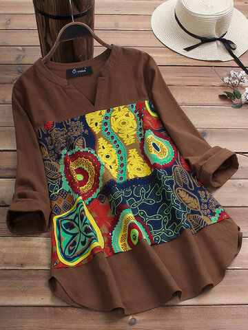 Ethnic Print Patchwork V-neck Blouse