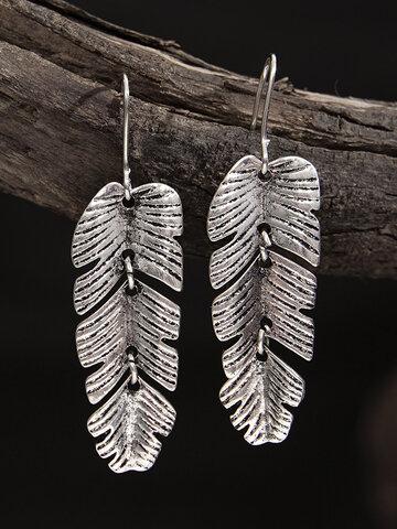 Vintage Alloy Palm Leaf Earrings
