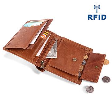 Men Genuine Leather RFID Anti-magnetic Vintage Casual Wallet