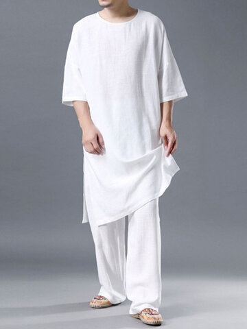 Lightweight Plain Cozy Cotton Linen Loungewear