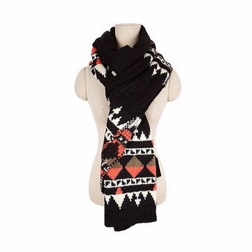 Couple Winter Thermal Geometric Pattern Scarf Crochet Knitted Long Wrap Shawls, White pink wine red black