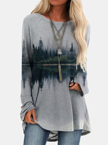 Landscape Printed Asymmetrical T-shirt