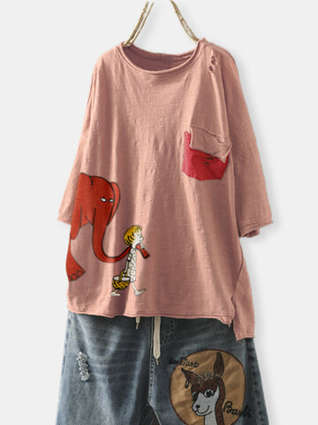 Cartoon Elephant Print Patch T-Shirt