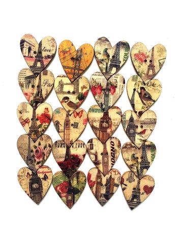 Lot de 50 Pcs boutons à coudre multicolores en forme de cœur en bois