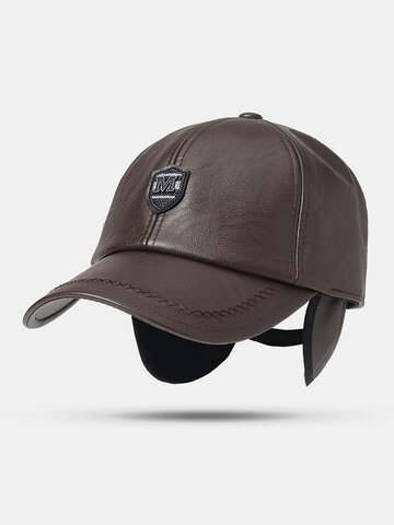 Solid Winter Pu Artificial Leather Baseball Cap