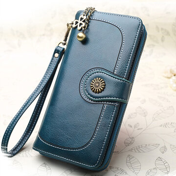 Women Oil Wax Leather Phone Bag 13 Card Holder Clutch Bag