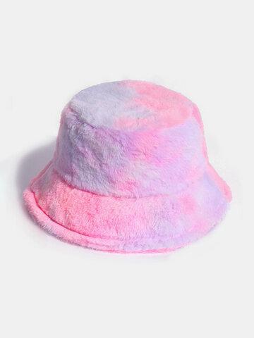 Women Colorful Warm Plush Gradient Wild Elegant Bucket Cap