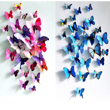 12Pcs 3D Butterfly Wall Sticker Fridge Magnet Home Decor Art Applique